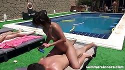 Summersinners  Rubbing Sunblock All Over His Dick